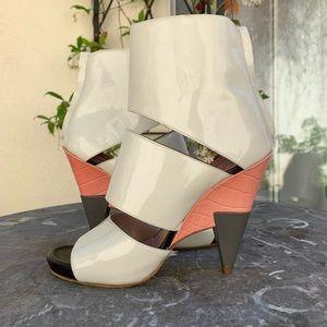 CHLOE Poseidon Patent Cutout Heel Booties Peeptoe